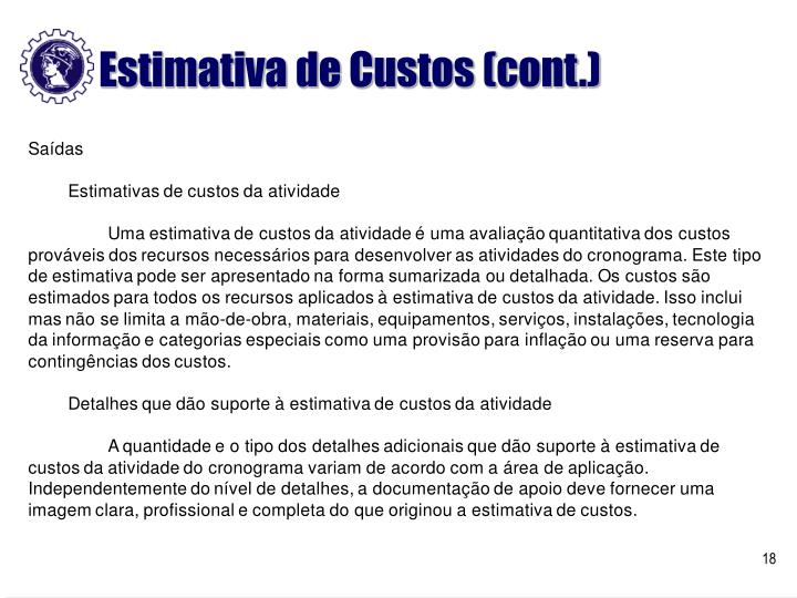 Estimativa de Custos (cont.)
