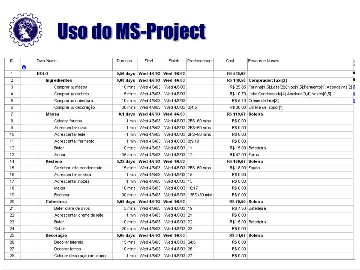 Uso do MS-Project
