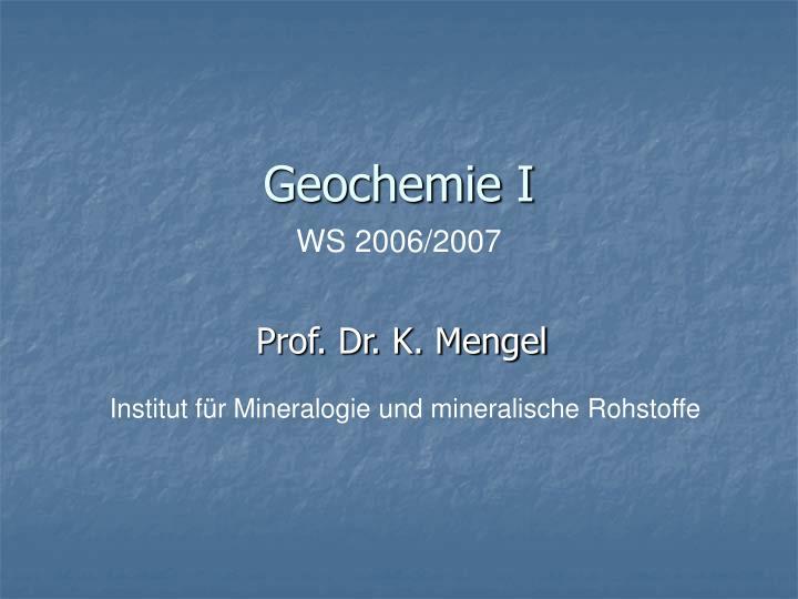 Geochemie I