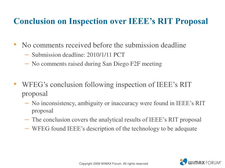 Conclusion on Inspection over IEEE's RIT Proposal