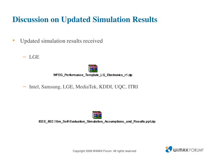 Discussion on Updated Simulation Results
