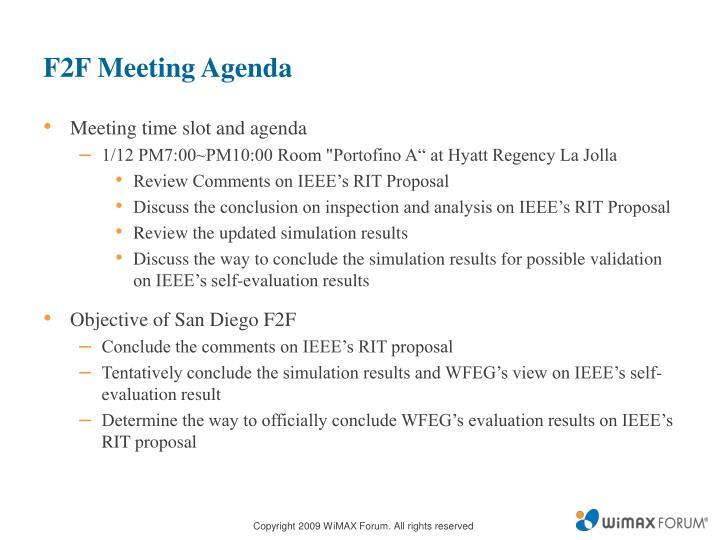 F2F Meeting Agenda
