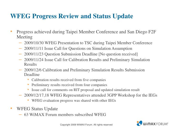 WFEG Progress Review and Status Update