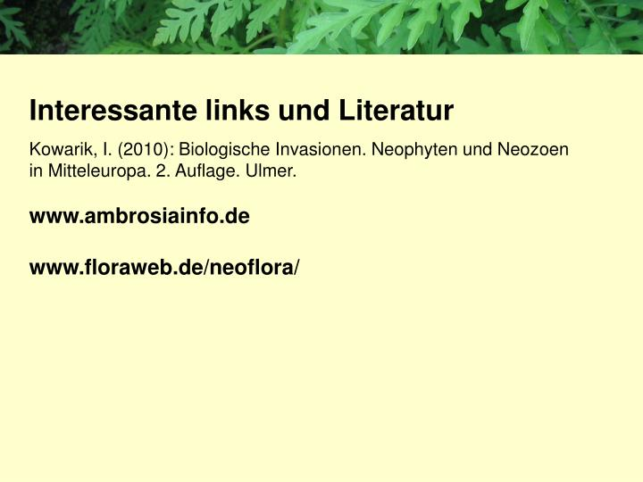 Interessante links und Literatur