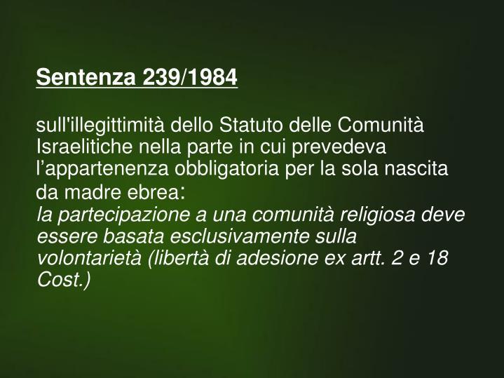 Sentenza 239/1984