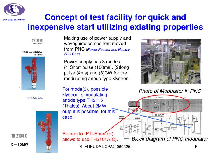 Concept of test facility for quick and inexpensive start utilizing existing properties