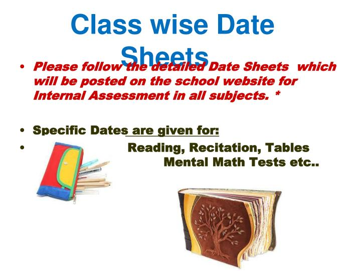 Class wise Date Sheets