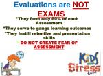 evaluations are not exams