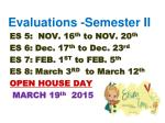 evaluations semester ii