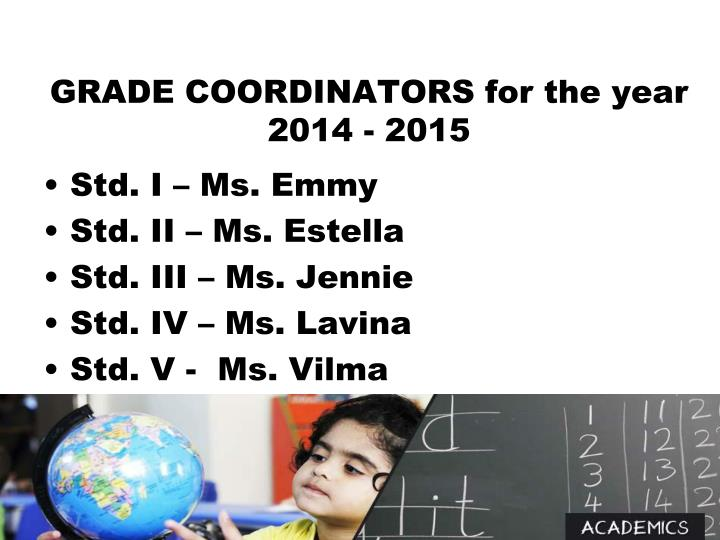 GRADE COORDINATORS for the year 2014 - 2015