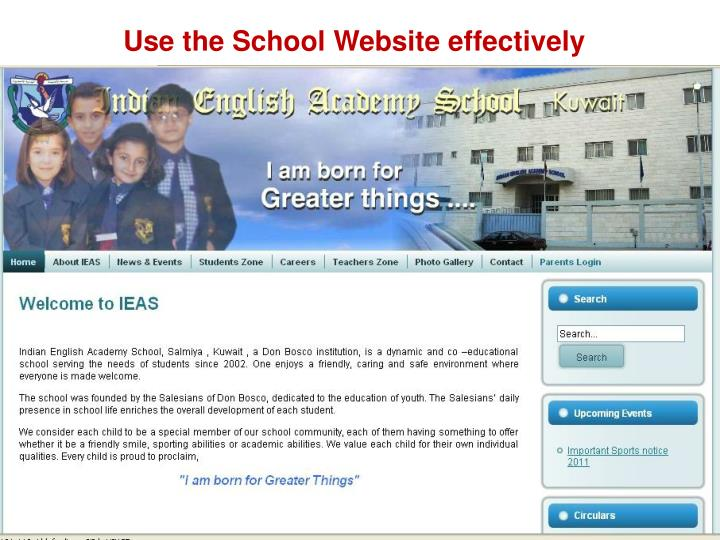 Use the School Website effectively