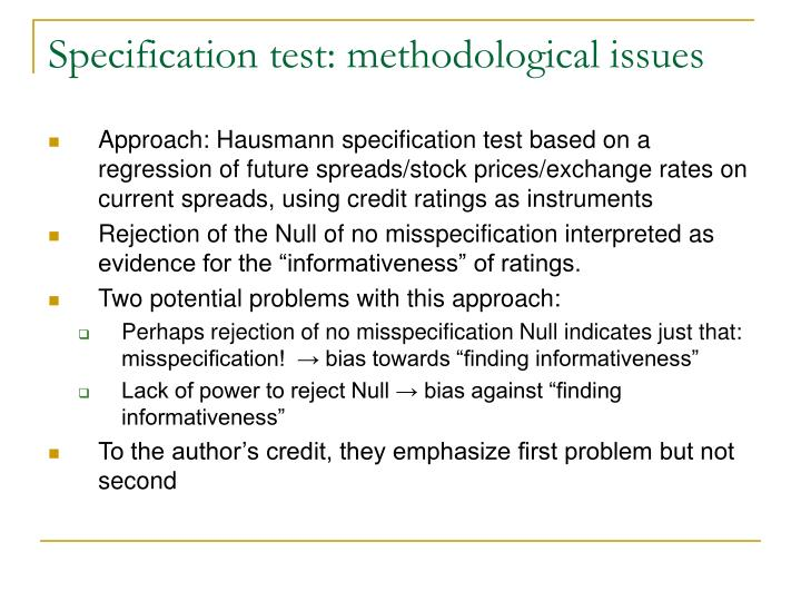 Specification test: methodological issues