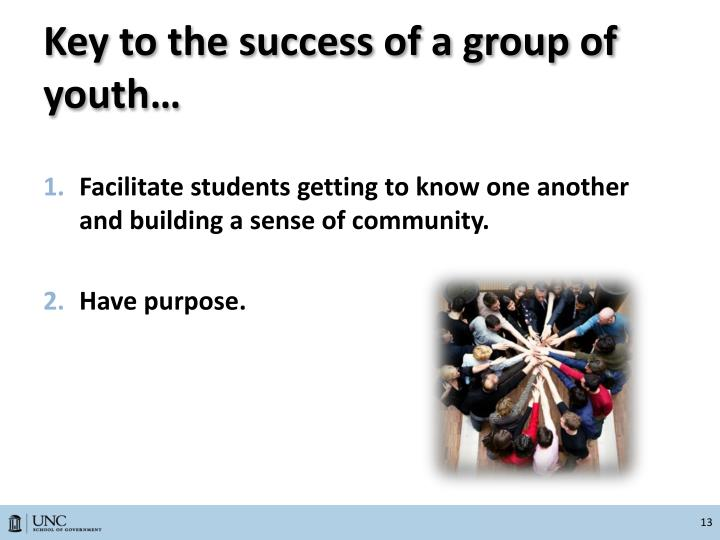 Key to the success of a group of youth…