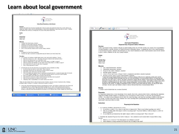 Learn about local government