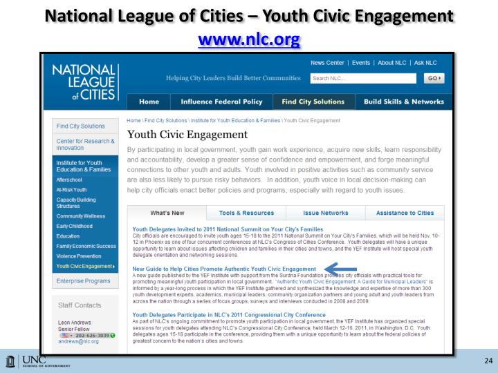 National League of Cities – Youth Civic Engagement