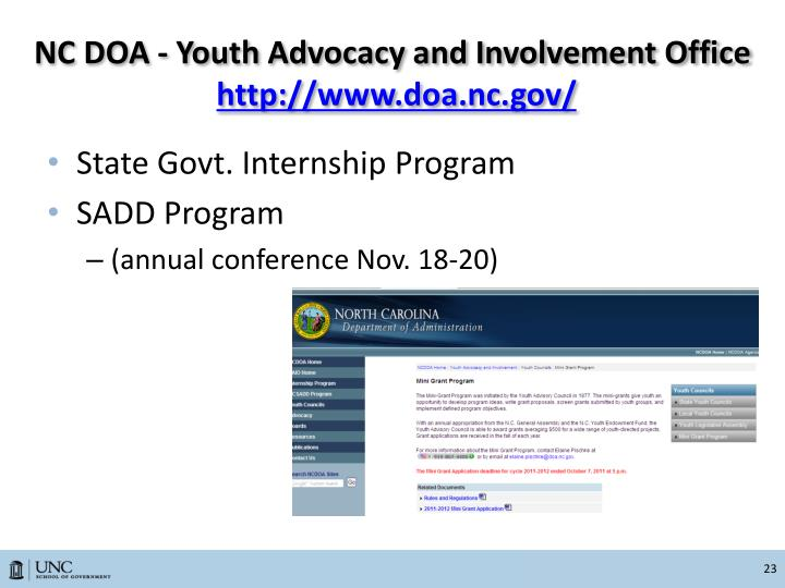 NC DOA - Youth Advocacy and Involvement Office