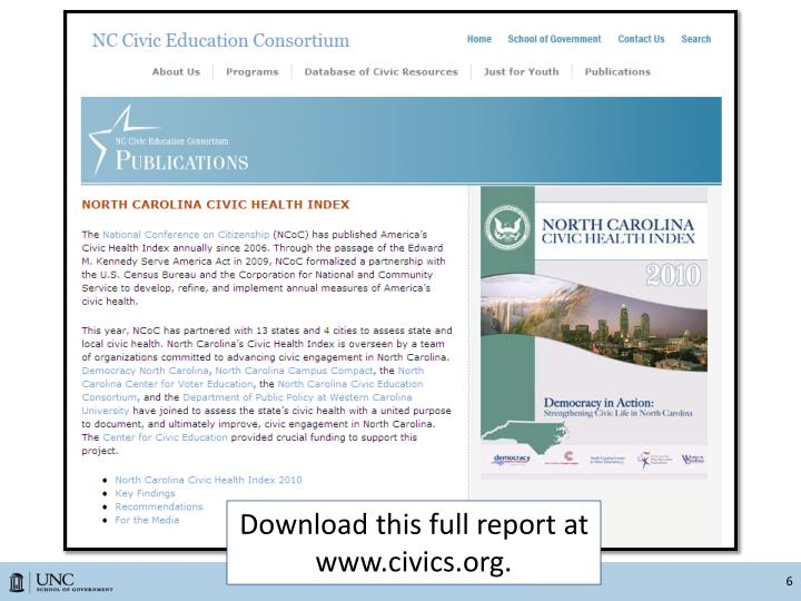 Download this full report at www.civics.org.