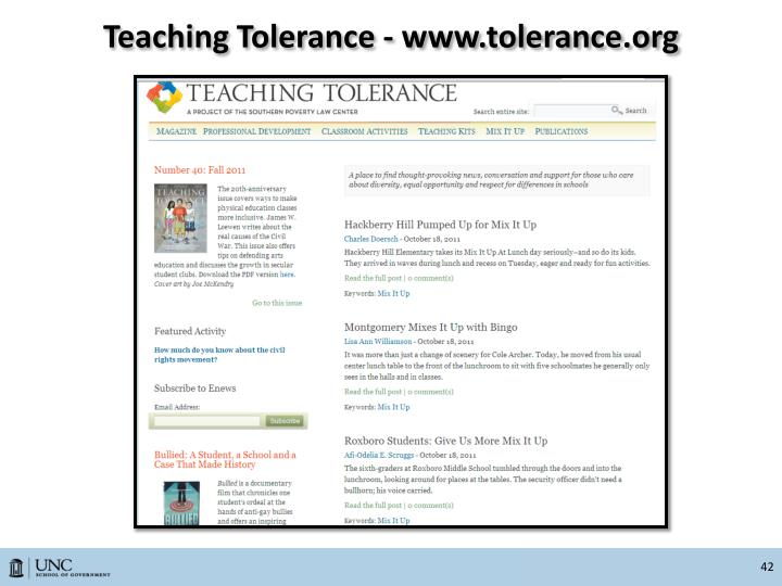 Teaching Tolerance - www.tolerance.org