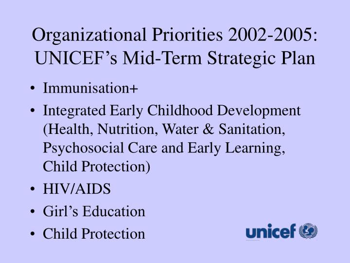 Organizational Priorities 2002-2005: UNICEF's Mid-Term Strategic Plan