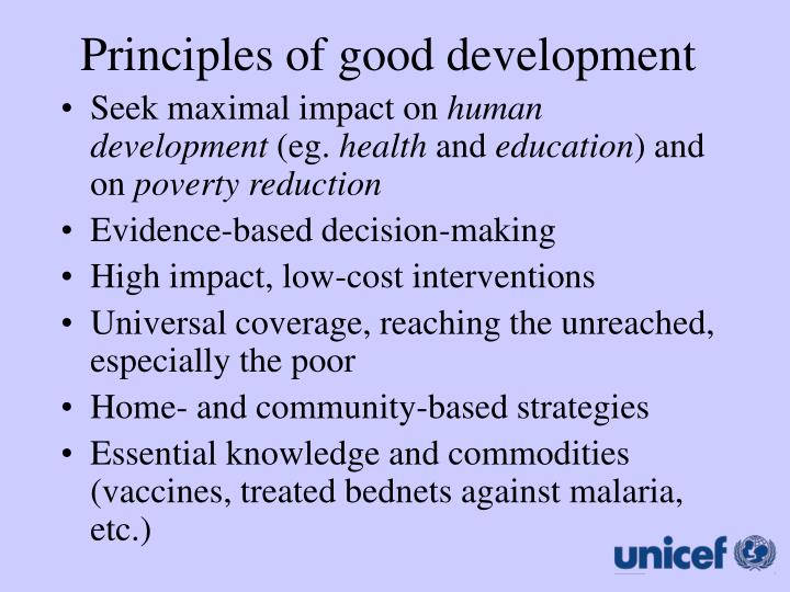 Principles of good development