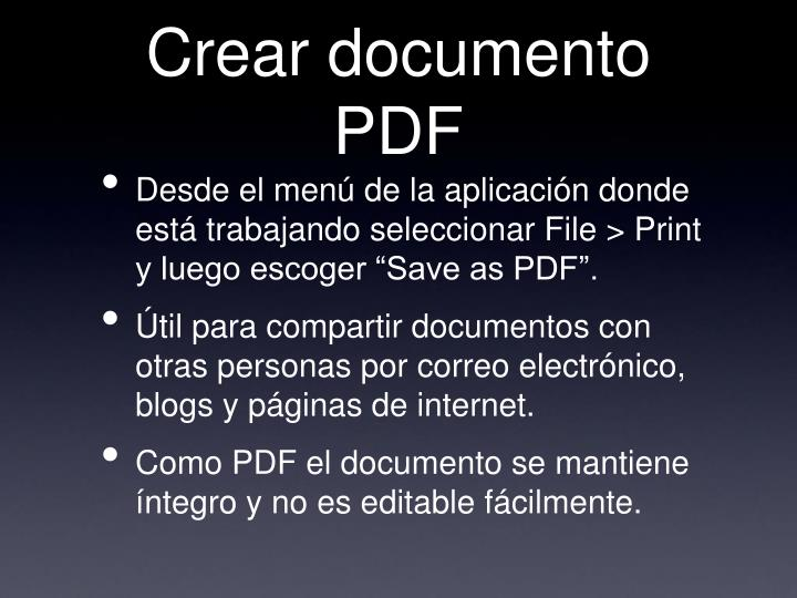 Crear documento PDF