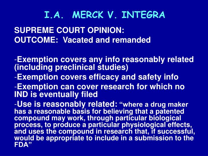 I.A.  MERCK V. INTEGRA