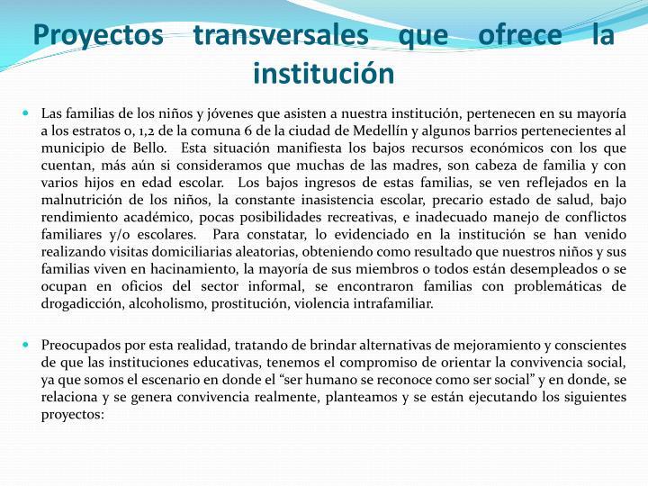 Proyectos transversales que ofrece la institución