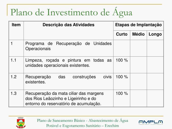 Plano de Investimento de Água