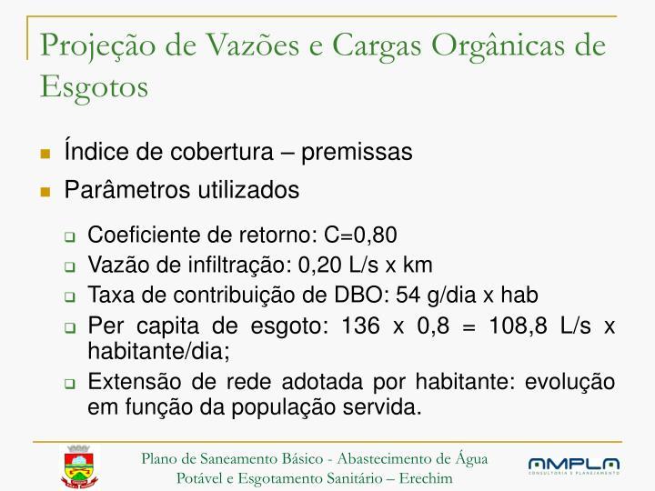 Projeção de Vazões e Cargas Orgânicas de Esgotos