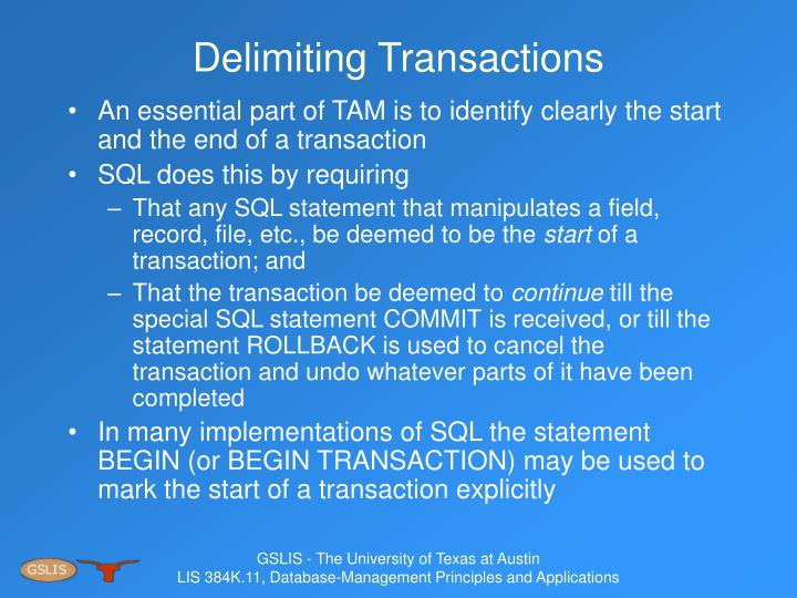 Delimiting Transactions