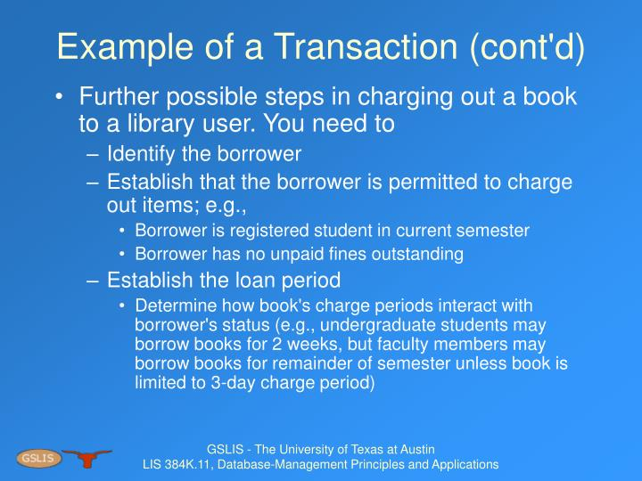 Example of a Transaction (cont'd)