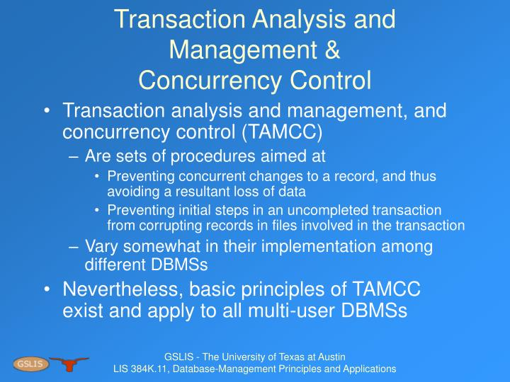 Transaction Analysis and Management &