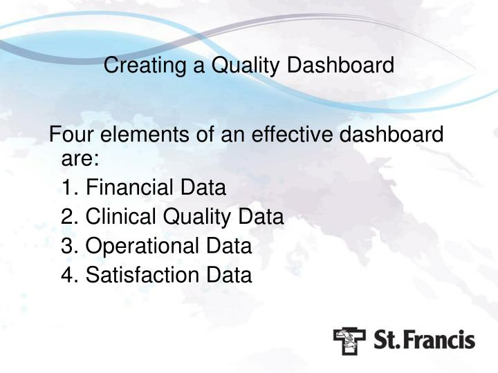 Creating a Quality Dashboard