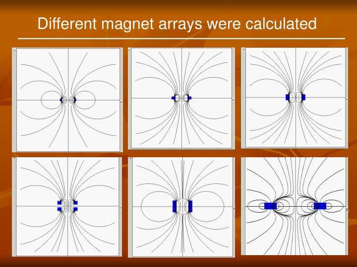 Different magnet arrays were calculated
