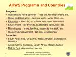ahws programs and countries