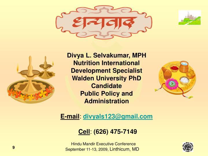 Divya L. Selvakumar, MPH