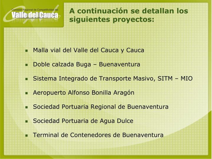 A continuación se detallan los siguientes proyectos: