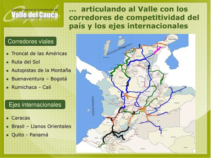 …  articulando al Valle con los corredores de competitividad del país y los ejes internacionales