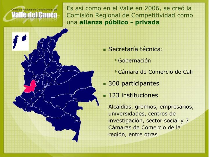 Es así como en el Valle en 2006, se creó la Comisión Regional de Competitividad como una