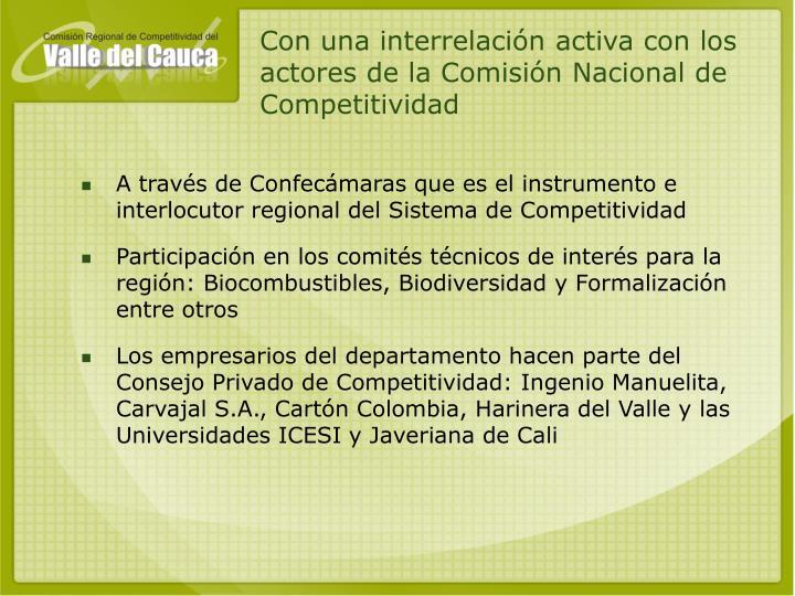 Con una interrelación activa con los actores de la Comisión Nacional de Competitividad