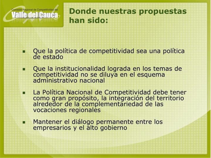 Que la política de competitividad sea una política de estado