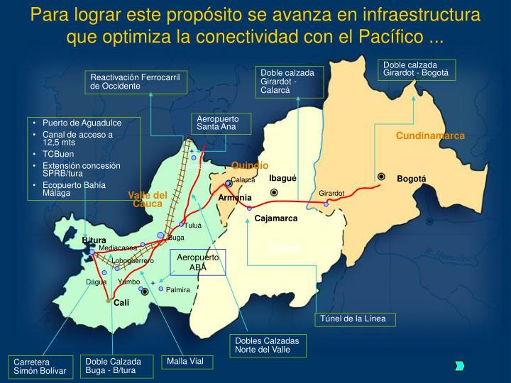 Para lograr este propósito se avanza en infraestructura que optimiza la conectividad con el Pacífico ...