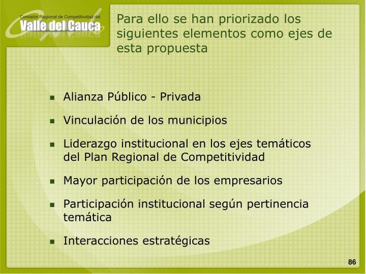 Para ello se han priorizado los siguientes elementos como ejes de esta propuesta