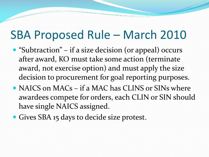 SBA Proposed Rule – March 2010