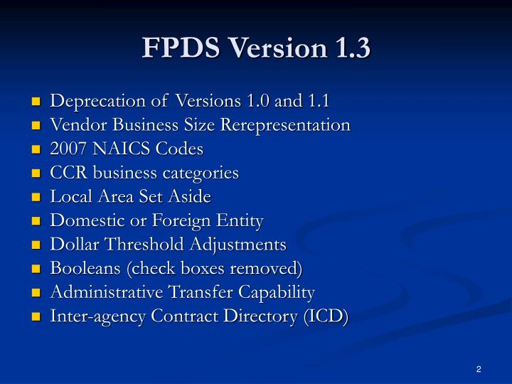 Fpds version 1 3