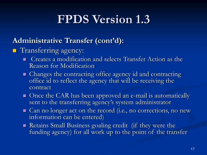 FPDS Version 1.3