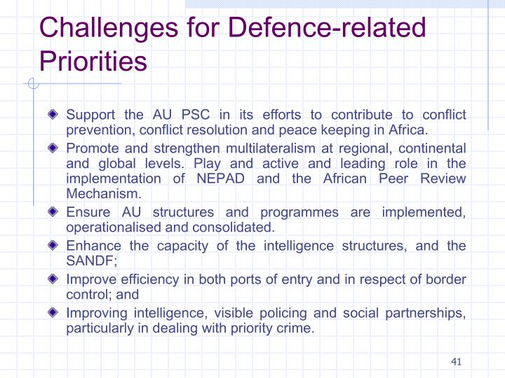 Challenges for Defence-related Priorities