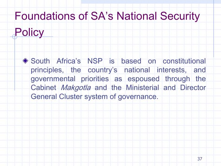 Foundations of SA's National Security Policy