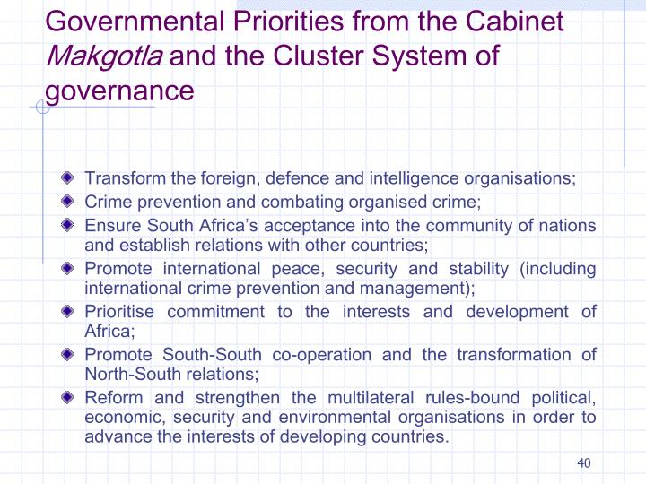 Governmental Priorities from the Cabinet