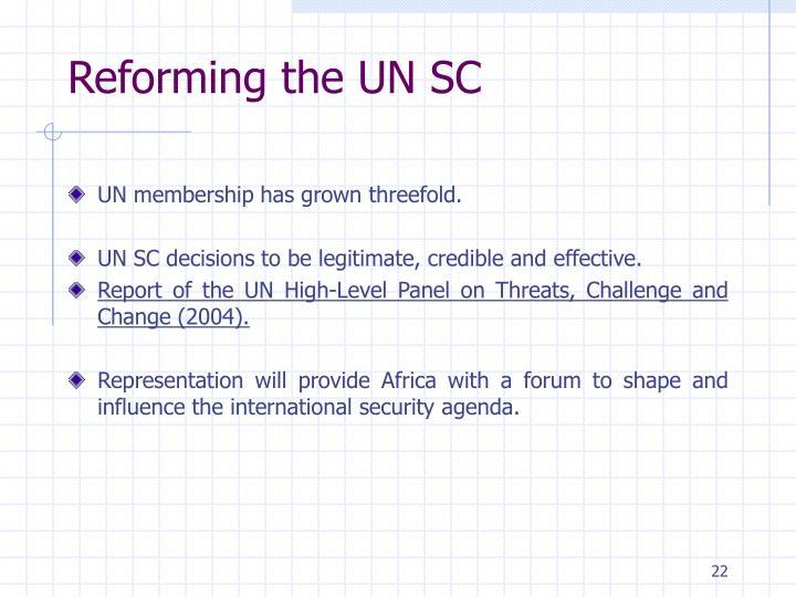 Reforming the UN SC
